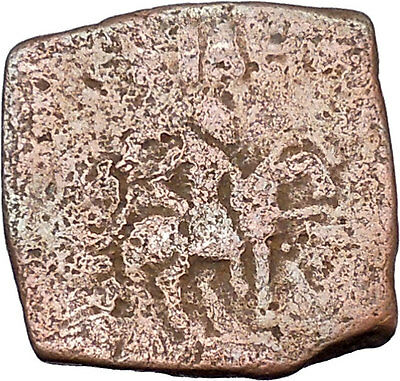 AZILISES 85BC INDO SKYTHIAN King on Horse Bull Ancient Greek Coin India i47049