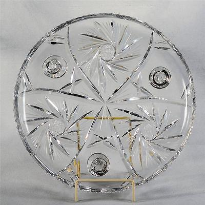 Footed Crystal Serving/cake Plate With Pinwheel Design