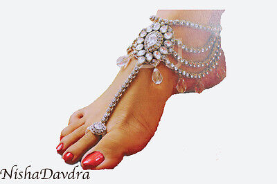 anklet dancer ornate chains toe thong belly paayal