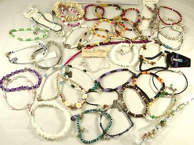 New Lot of 40 Below Wholesale Assorted Beachy Surfer Style Anklets