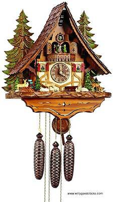 (New!) 8-Day Musical Chalet Cuckoo Clock Forestry Scenery Anton Schneider
