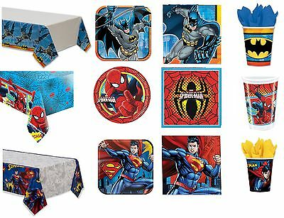 SUPER HERO BIRTHDAY PARTY PACKS FOR 8 10 12 16 NAPKINS PLATES CUPS TABLECOVER