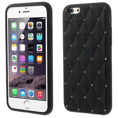 "Apple iPhone 6 6S 4.7"" Silikon Case Glitzer Bling Rhombus Hülle Cover Schwarz"