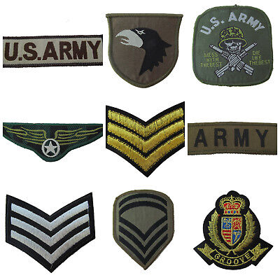 Embroidery Cloth Military Sergeant Stripes Iron Cross Wings Us Army Sew On Patch
