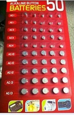 50 Pcs Button Cell Assorted Batteries Ag1 /3 /4 /10 /12 /13,watches Etc B4U