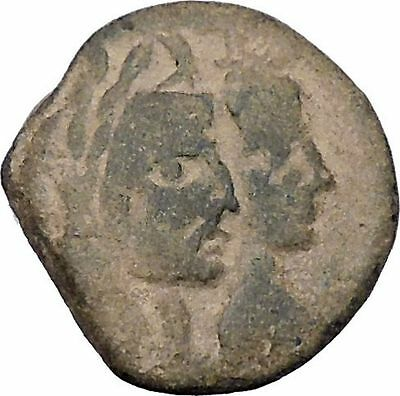 ARETAS IV & SHAQUILAT Arab Kingdom of Nabataea PETRA Ancient Greek Coin i46953