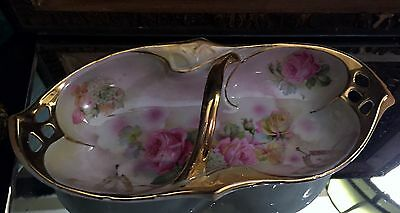 1903 Antique German IPF Hand Painted Porcelain White & Rose Gold Gild Candy Bowl