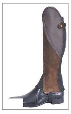 Borraq Brown Suede Leather Comfort Gaiters with Brown Leather Feature Panel
