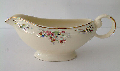 Vintage Taylor Smith and Taylor  Gravy Boat Pink Flowers & Pussy Willow USA