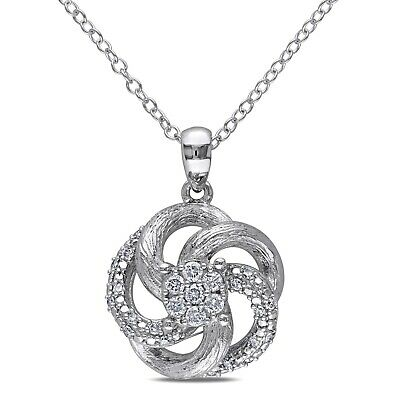 Sterling Silver 1/4 CT Diamond Flower Fashion Nature Pendant Necklace GH I2;I3