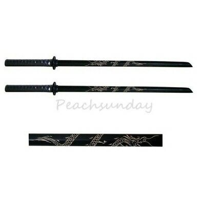 Set of 2 40'' Black Bokken Daito Wooden Practice Sword, Carved Dragon