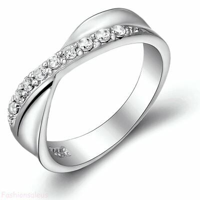 Silver Plated w/ Cubic Zirconia Infinity Women's Rings Wedding Engagement Band