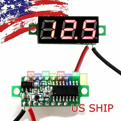 Red DC 0-30V 2 Wire LED Display Digital Voltage Voltmeter Panel For Breadboard
