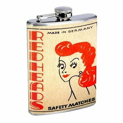 Redhead Germany Match Retro D542 Flask 8oz Stainless Steel Safety Matches