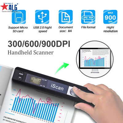 iScan Handheld Portable 900DPI Scanner A4 Photo Book Handyscan+8GB+Hard Case