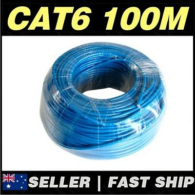 Blue 100M CAT6 UTP Solid CCA Core Network Ethernet LAN Cable Roll **AU STOCK**