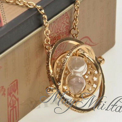 Harry Potter Hermione Granger Rotating Time Turner Necklace Gold Hourglass W