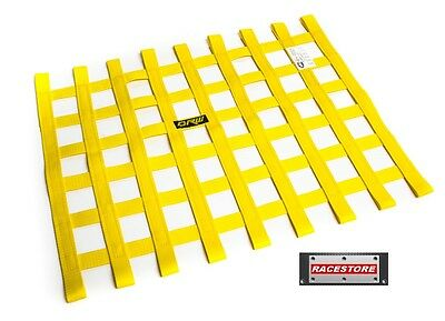 WINDOW NET YELLOW 455x575mm - SFI 27.1 APPROVED, RACE RALLY SPEEDWAY TRACK CAR