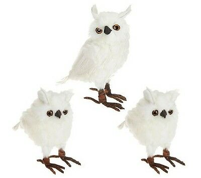 Set of 3 White Snowy Owl Feathered Figurines H200718 OR H202709
