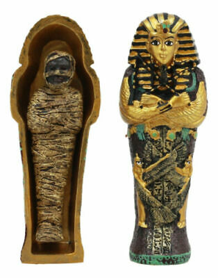"4"" Height Egyptian Decorative King Tut Mummy and Sarcophagus Set Mini Figurine"