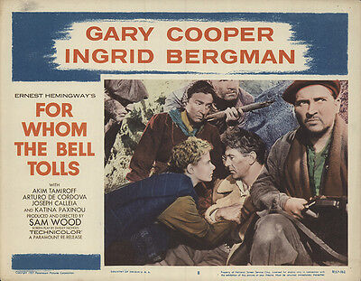 For Whom the Bell Tolls 1957 Original Movie Poster Adventure Drama History
