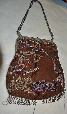 ANTIQUE STUNNING SILVER CLASP BEADED PURSE C1920'S estate detailed frame