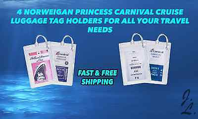 4 Carnival Norwegian Princess Disney Cruise Lines Luggage Tag Holders NEW
