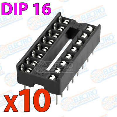 10x Zocalo integrado 16 PINs DIP 16 Socket doble contacto DIP16
