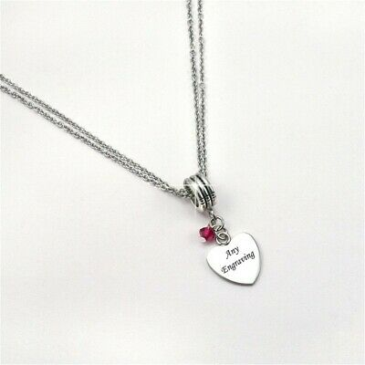 Necklace with ANY Engraving & Birthstone. Personalised Jewellery for Women