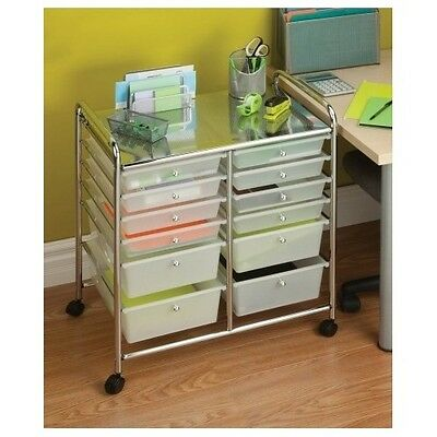 Studio Organizer Cart Home Office Craft Hobby 12 Drawer Chrome Rolling Storage