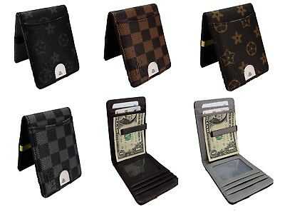Mens Wallet Money Clip Card Holder ID Card Travel pu Leather Black Grey W50
