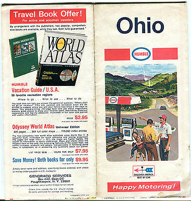 1969 Humble Oil OHIO Vintage Road Map
