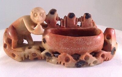 Antique Carved Stone Monkey Brush Pot Bowl 1915 San Francisco Exposition Chinese