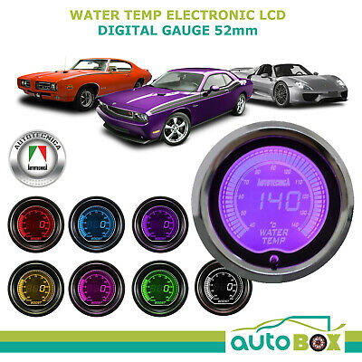 WATER TEMP 52mm Electronic Digital LCD Gauge by Autotecnica Turbo 7 Colour
