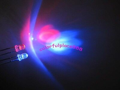 50pcs, 3mm Dual Bi-Color Red/Blue Polar Changing Led Water Clear Leds 2-Pin New