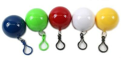 Kids Poncho Childs Raincoat Hooded Waterproof Mac Disposable Clip Keyring Ball
