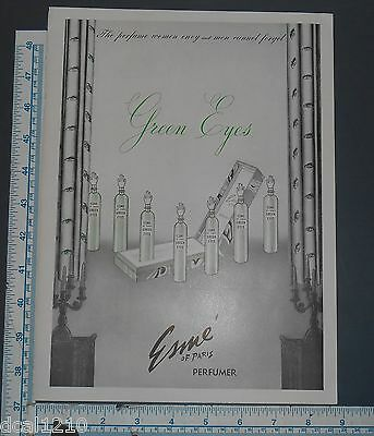 ESME OF PARIS GREEN EYES PERFUME VINTAGE Print Ad