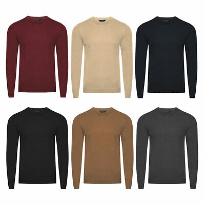 New Mens Kensington Eastside Cashmilion Basic Soft Crew Neck Jumper Size M-XXL