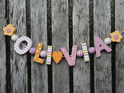 """""""olivia"""" Wooden Letters Door Name Decoration Personalised Shabby Chic Nursery"""