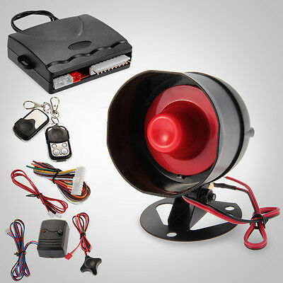 1-Way Car Anti-theft Alarm Security System Siren with 2 Remote Control Black
