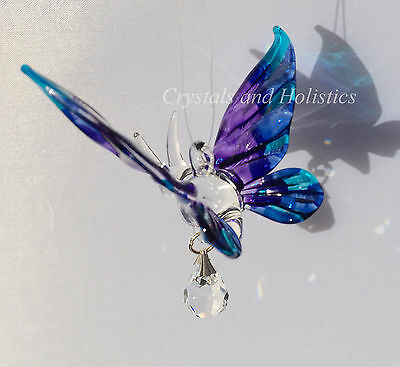 Hand Crafted PURPLE Fantasy Glass & Crystal BUTTERFLY Rainbow Maker Suncatcher