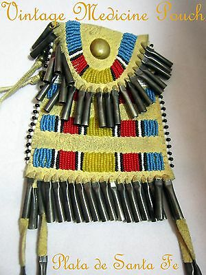 VTG.Choctaw Beaded Deer Skin Medicine Pouch with Lots of Tin Cones
