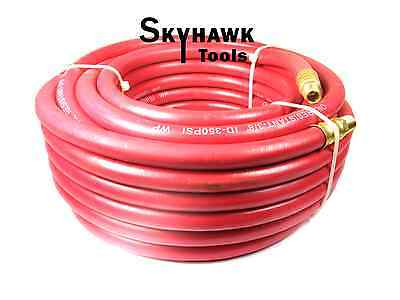 "1/4"" NPT Fitting  3/8'' X 50' Air Compressor 50 FT Red Rubber Air Hose 300 PSI"