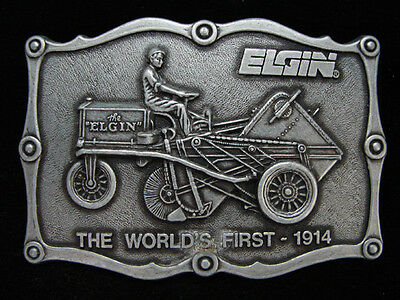 OA13122 VINTAGE 1970s **ELGIN THE WORLD'S FIRST - 1914** TRACTOR PEWTER BUCKLE