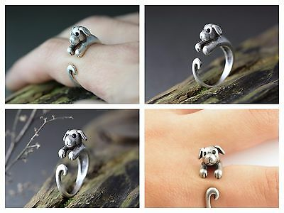 Super Cute Puppy Dog Animal Ring Adjustable Finger Wrap Jewelry AR-9