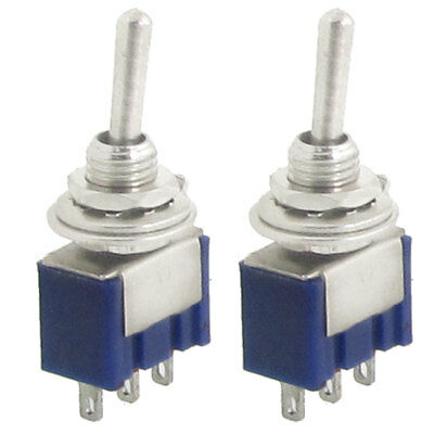 2 Pcs AC 125V 6A Amps ON/ON 2 Position 3 Pins SPDT Mini Toggle Switch