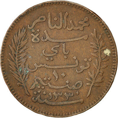 [#75077] TUNISIA, 10 Centimes, 1912, Paris, KM #236, EF(40-45), Bronze, Lecompte