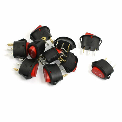 10 Pcs Red Indicator Light 3 Pin SPST ON OFF Snap-in Rocker Boat Switch