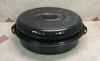 "16"" Large Vtg Black White Speckled Enamelware Graniteware Roaster Roasting Pan C"