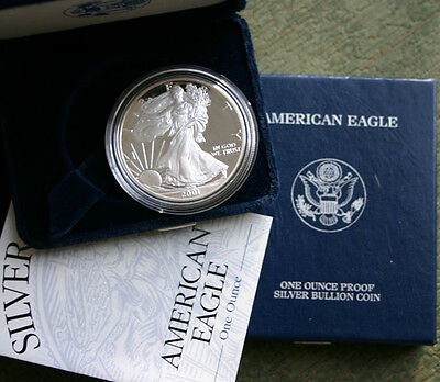 2001 AMERICAN SILVER EAGLE PROOF DOLLAR US Mint ASE Coin with Box & COA